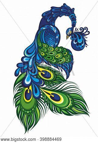 Beautiful Peacock Cartoon Vector Illustration For Your Design