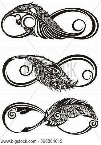 Contour, Artistically Drawn Infinity Symbol With Feather .tattoo Infinity Symbols
