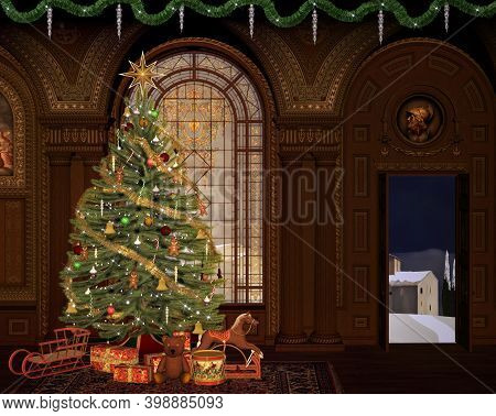 Christmas Tree Inside A Room With A View To A Snowy Village - 3d Illustration
