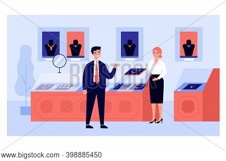 Rich Man Choosing Gold Accessory In Jewelry Store. Customer And Seller In Jewellery Shop. Vector Ill