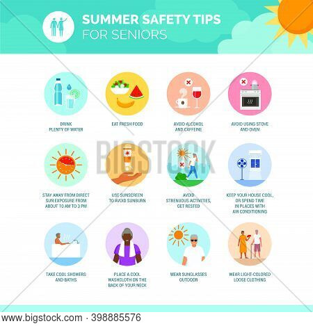 Summer Safety Tips For Seniors: How To Prevent Heat Stroke And Stay Cool, Healthcare Infographic And
