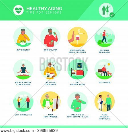 Healthy Aging And Senior Wellness Icons Set: Healthy Lifestyle, Brain Maintenance And Fitness For El