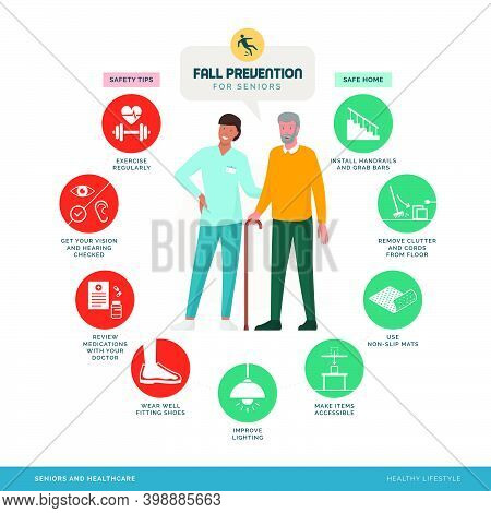 Fall Prevention Tips Infographic With Smiling Caregiver Assisting A Senior Man, Healthy Lifestyle Co