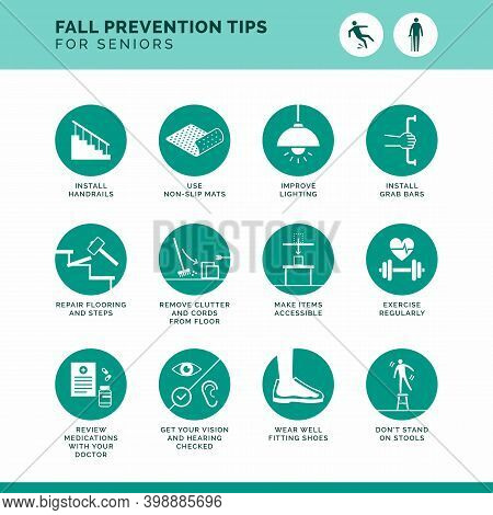 Senior Fall Prevention Tips Icons Set: Safe Home Improvements And Healthy Lifestyle Advices