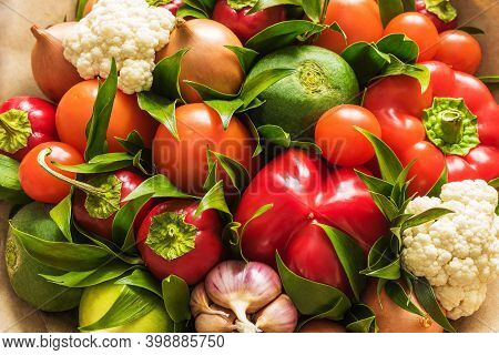 Vegetable Bouquet Of Cauliflower, Radish, Onion, Tomato, Garlic And Pepper Close Up