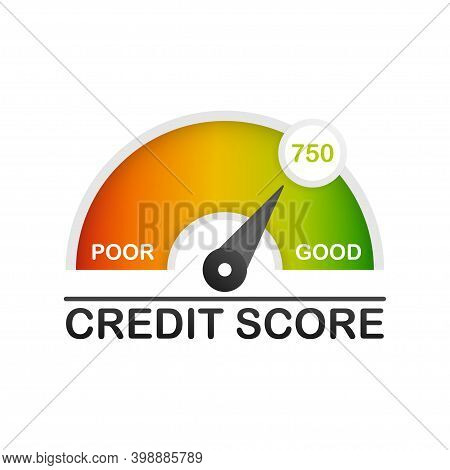 Detailed Illustration Of A Credit Score Meter With Pointer.