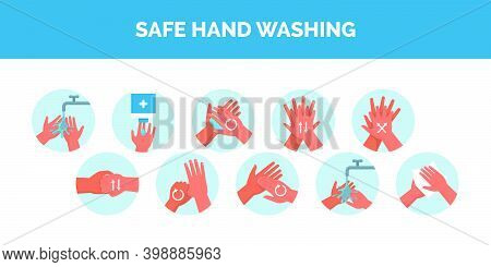 Safe Hand Washing Procedure, How To Wahs Hands Properly, Coronavirus Covid-19 Prevention