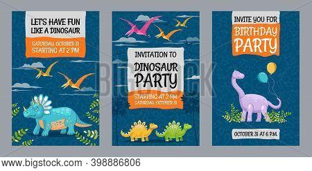 Creative Dinosaur Party Invitation Designs. Trendy Big Holiday Invitations With Text And Dinos. Crea