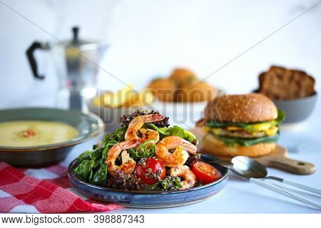 Shrimp And Quinoa Salad Beautiful Tasty Salad.lots Of Food On The Table, Lunch.proper Nutrition.sala