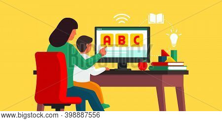 Kid Learning At Home With His Mother And Following Online Classes: Homeschooling And E-learning Conc