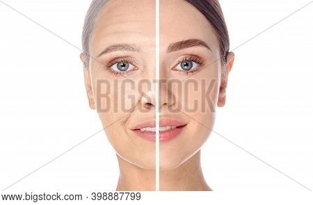 Skin Aging Concept, Portrait. Before And After, Young And Old Face, Aging Process. Cosmetology Anti-