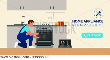 Expert Repairman Fixing A Broken Oven In A Kitchen, Home Appliance Repair Service Concept