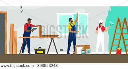 Professional Contractors Working On A Home Renovation, Construction, Windows Installation And Painti