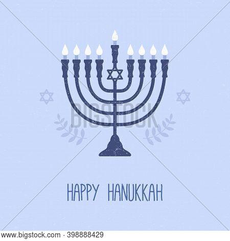 Happy Hanukkah. Greeting Card. Menorah On Blue Background. Vector