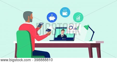 Senior Man Videocalling His Financial Consultant Online And Receiving Financial Advices