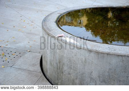 Drinking Fountain, Circular Fountain And Water Drain Into A Concrete Channel With A Perforated Lid.