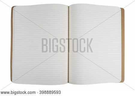 Open Notebook Empty Pages Top View. Lined Notepad Isolated On White Background. Note Book Spreadshee