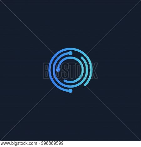 Digital Lock, Round Vector Logo. Encryption, Isolated Icon On Black Background. Abstract Symbol For