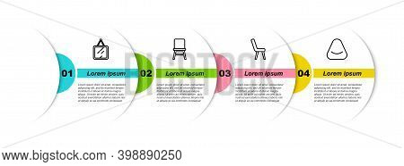 Set Line Mirror, Chair, Armchair And Pouf. Business Infographic Template. Vector