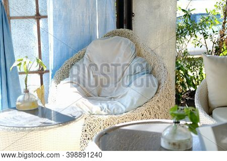 White Cushion Pillow On Chair Sofa Seat At Patio At Home