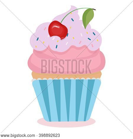 Cute Cartoon Cupcake With A Cherry On Top. Creamy Fancy Decorated Dessert. Vector Illustration Isola