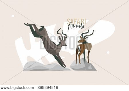 Hand Drawn Vector Stock Abstract Flat Graphic Illustration With African Wild Running Gazelle And Ant