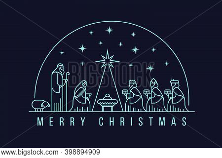 Merry Christmas With White Line Nativity Of Jesus Scene And Three Wise Men In The Semicircle And Sta