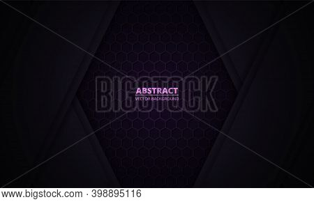 Dark Violet Background With Hexagon Carbon Fiber Texture And Paper Lines. Dark Lilac Honeycomb Metal