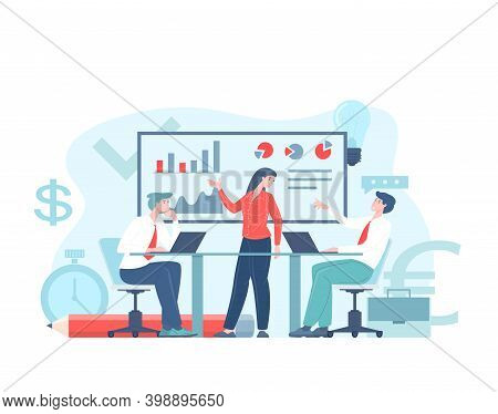 Business Workflow Or Teamwork Process Concept Flat Vector Illustration. Business Process Automation.