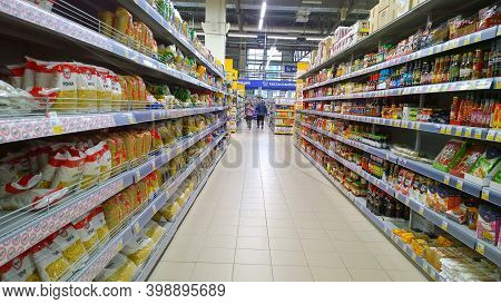 St. Petersburg, Russia - October 11, 2020: Top Russian Supermarket Is One Of Largest Players Of Reta