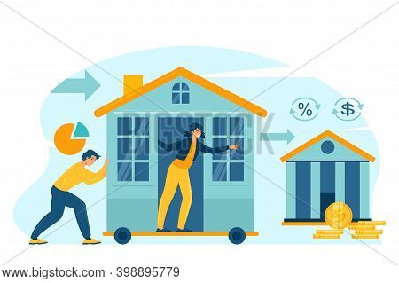 Mortgage Refinance Concept Flat Vector Illustration. Lower Monthly Payments For Family.