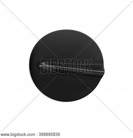 Black Glued Round Crumpled Sticker Mockup. Adhesive Black Paper Or Plastic Sticker Label With Glued,