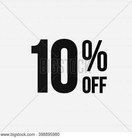 Golden 10 Percent Off Flat Cartoon Style Vector Logo Concept. 10 Percent Sale Isolated Icon On White