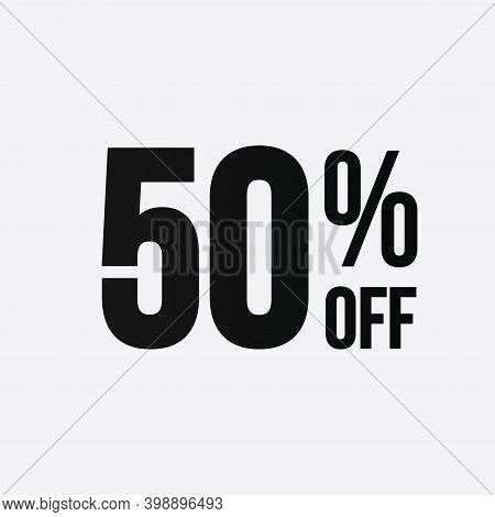 Golden 50 Percent Off Flat Cartoon Style Vector Logo Concept. 50 Percent Sale Isolated Icon On White