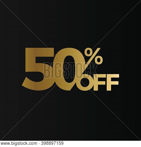 Golden 50 Percent Off Flat Cartoon Style Vector Logo Concept. 50 Percent Sale Isolated Icon On Black