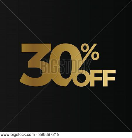 Golden 30 Percent Off Flat Cartoon Style Vector Logo Concept. 30 Percent Sale Isolated Icon On Black