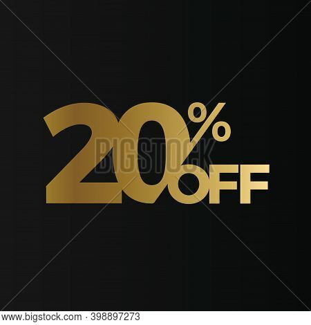 Golden 20 Percent Off Flat Cartoon Style Vector Logo Concept. 20 Percent Sale Isolated Icon On Black