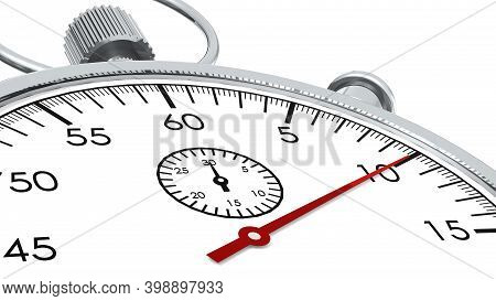 Stopwatch With Red Second Hand Approach To 10 Seconds, 3d Rendering