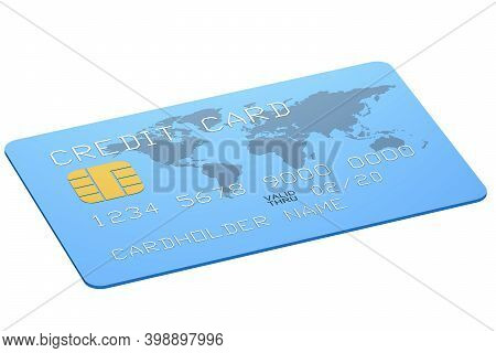 Blue Credit Card With World Map Isolated, 3d Rendering