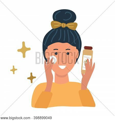 Girl Clean Her Face From Cosmetics With Cotton Pad And Tonic. Cleansing, Moisturizing, Treating Conc