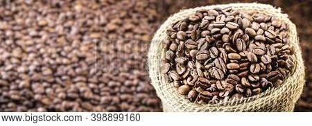 Brazilian Coffee Bag, Export Type, With Space For Text. Selected Arabica Coffee Beans, Copy Space