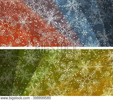 Set Of Horizontal Bright Colored Big Banners With Snowflakes Snowfall.