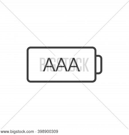 Battery Icon Aaa On White Isolated Background.