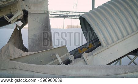 Concrete Plant Device For A Construction Site. Group Of Technological Silos Of A Concrete Plant. Con