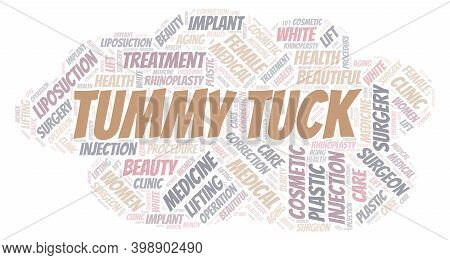 Tummy Tuck Typography Word Cloud Create With Text Only. Type Of Plastic Surgery