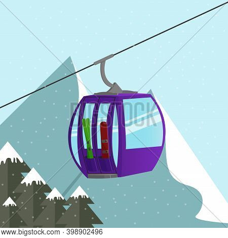 Alps Ski Lift Gondola With Skis And Snowboard Above The Mountains Peak. Extreme Tourist Backgrounds