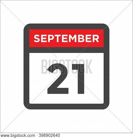 September 21 Calendar Icon With Day & Month Sept 21st
