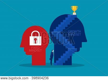Big Head Human Think Growth Mindset Different Fixed Mindset Concept