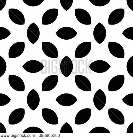 Abstract Seamless Pattern Background. Mosaic Of Black Geometric Lentil Shapes. Vector Illustration.