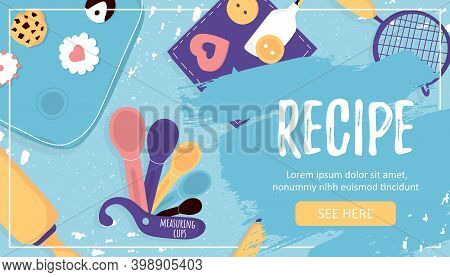 Template Banner With Baking Essentials And Tools And Recipe Word